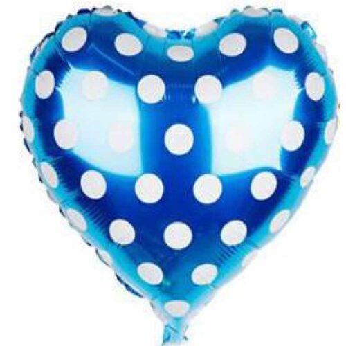 Folienballo Herz blau mit Punkten