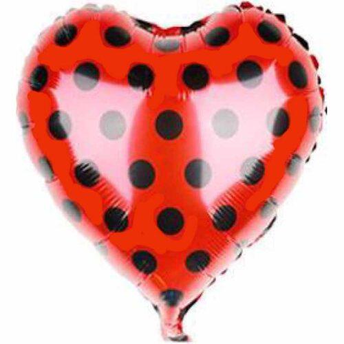 Folienballon Herz rot mit Punkten