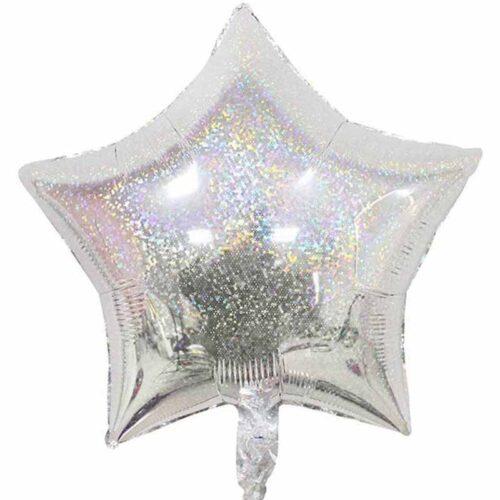 Folienballon Stern 45cm Holographic silber