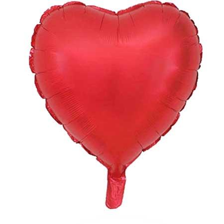 Folienballon-Herz-rot-matt