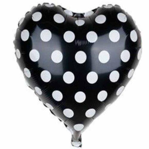Folienballon Herz Schwarz mit Punkten